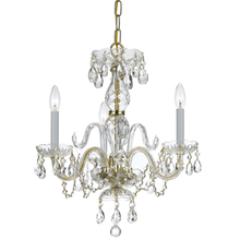Crystorama 5044-PB-CL-MWP - Crystorama Traditional Crystal 3 Light Clear Crystal Brass Mini Chandelier II