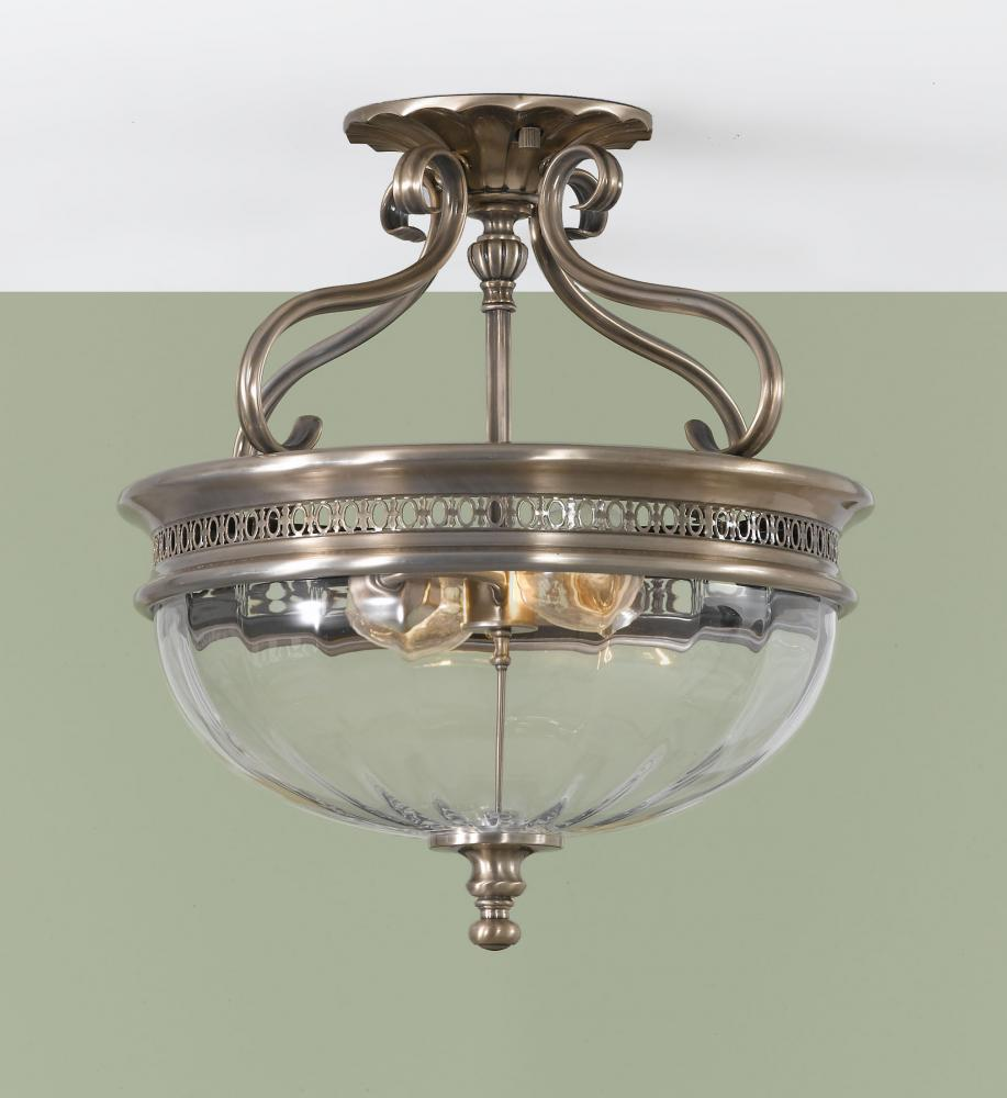 Two light brushed bronze clear optic glass bowl semi flush mount two light brushed bronze clear optic glass bowl semi flush mount aloadofball Gallery
