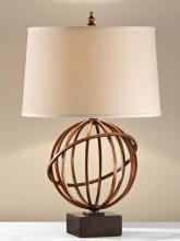 Feiss 10102FG/DWB - One Light Dark Tan Linen�on Stryene Hardback Shade Firenze Gold/dark Walnut Base Table Lamp